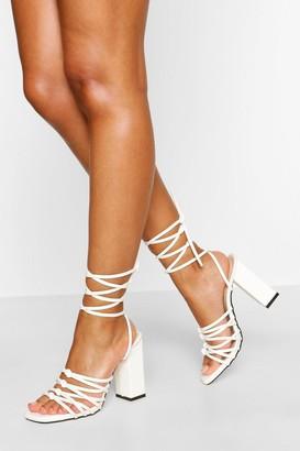 boohoo Super Strappy Wrap Up Block Heels