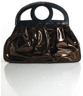 Alejandro Ingelmo Bronze Metallic Patent Leather Ruched Cutout Large Handbag