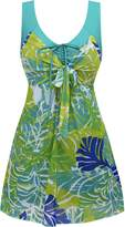 Wantdo Women's Plus Size Swimdress Flower Printed Swimwear Cover Up Swimsuits , US 16-18