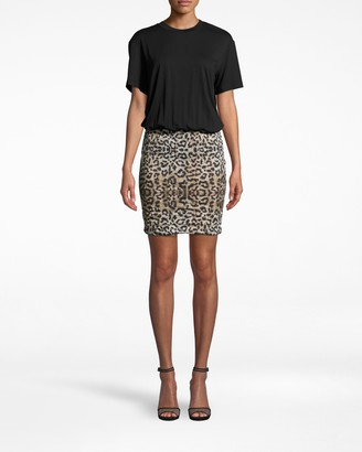 Nicole Miller Leopard Combo Shirt Dress