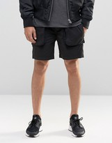 Asos Slim Cargo Short In Washed Black