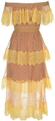 Self-Portrait Polka Dot Off Shoulder Mesh Midi Dress