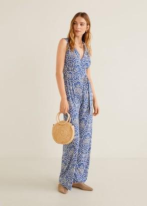 MANGO Long printed jumpsuit blue - XXS - Women