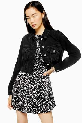 Topshop Womens Black Denim Fitted Raw Hem Jacket - Washed Black
