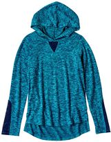 Mudd Girls 7-16 Marled Lace Detail High-Low Hooded Tee