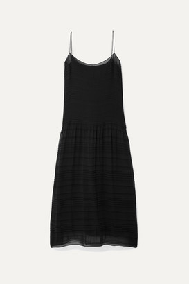 The Row Tanya Pleated Crepe De Chine Midi Dress - Black
