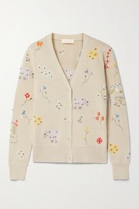 TORY BURCH - Simone Embellished Cotton Cardigan - Neutrals
