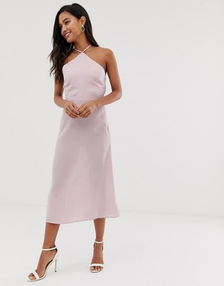 Fashion Union midi dress with high halter neck in gingham