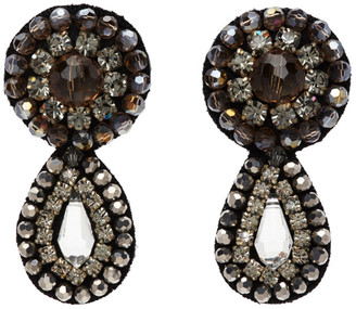 Erdem Grey Crystal Beaded Drop Earrings