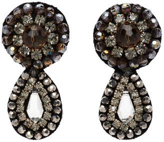Erdem Grey Crystal Beaded Drop Earrings