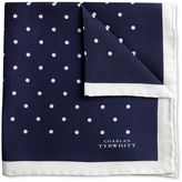 Charles Tyrwhitt Navy and white classic printed spot pocket square