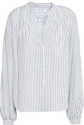 Frame Pleated Striped Silk-satin Blouse
