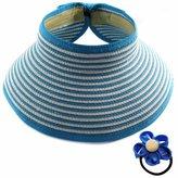 kilofly Roll Up Wide Brim Sun Visor Hat - for Girls - Light , with Cute Flower Elastic Hair Band