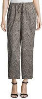 Eileen Fisher Droplet-Print Wide-Leg Cropped Pants, Petite