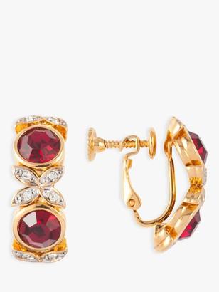 Susan Caplan Vintage D'Orlan 22ct Gold Plated Swarovski Crystal Clip-On Hoop Earrings, Gold/Multi