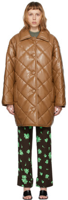 Stand Studio Taupe Faux-Leather Jacey Puffy Coat