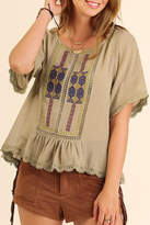 Umgee USA Olive Boho Top