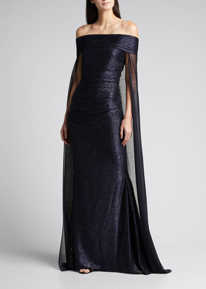 Talbot Runhof Sprinkled Metallic Off-the-Shoulder Cape Gown