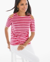 Chico's Sequin Striped Cold-Shoulder Top