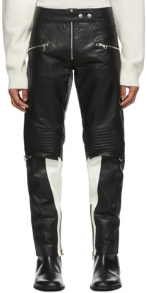 System Black Faux-Leather Biker Pants