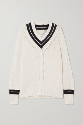RE/DONE 90s Two-tone Cable-knit Cotton-blend Sweater - White