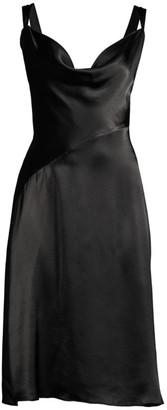 Donna Karan Satin Cowl Neck Dress