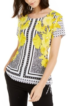 INC International Concepts Inc Printed Lace-Up Corset Top, Created for Macy's