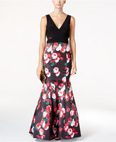 Xscape Evenings Illusion Floral-Print Mermaid Gown