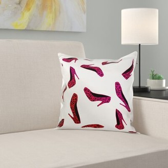 East Urban Home High Heel Shoes Print Cheetah Pillow Cover East Urban Home Color: Pink