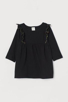 H&M Ruffle-trimmed Jersey Dress - Black