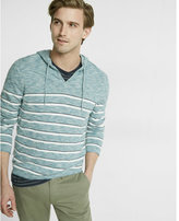 Express bar stripe v neck hooded sweater