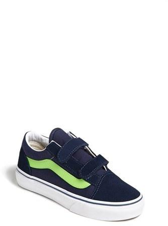 Vans 'Old Skool V' Skate Sneaker (Toddler, Little Kid & Big Kid) Dress Blue/ Green 2 M