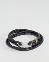 Paul Smith Leather Wrap Bracelet In Black