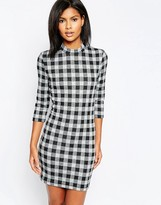 Only Checked Body-Conscious 3/4 Sleeve Dress