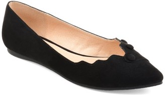 Brinley Co. Womens Faux Suede Button Scalloped Flats