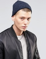 Asos Lambswool Blend Stitch Fisherman Beanie In Denim
