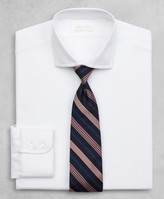 Brooks Brothers Golden Fleece Regent Fitted Dress Shirt, English Collar White Herringbone