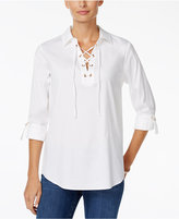 Charter Club Collared Lace-Up Top, Only at Macy's