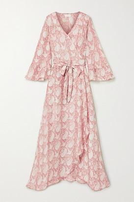 Hannah Artwear - Luna Ruffled Paisley-print Silk Crepe De Chine Wrap Dress - Antique rose