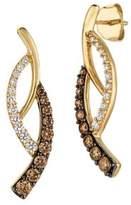 LeVian Le Vian Chocolatier Chocolate Diamonds, Vanilla Diamonds and 14K Honey Gold Curve Drop Earrings