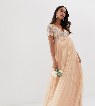 Maya Maternity Bridesmaid V neck maxi dress with delicate sequin in soft peach-Pink