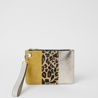 River Island Womens Yellow leather leopard print block clutch bag