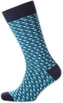 Blue Shadow Spot Socks Size Large By Charles Tyrwhitt