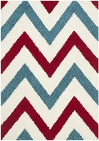 Safavieh Kids Shag Collection SGK564B Ivory and Red Area Rug, 4 feet by 6 feet (4' x 6')