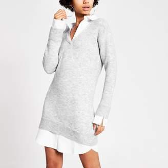 River Island Womens Grey knitted long sleeve shirt jumper dress