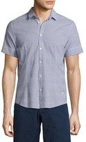 Orlebar Brown Morton Striped Seersucker Short-Sleeve Sport Shirt, Navy