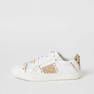 River Island Girls White RI tape side studded trainers
