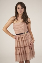 Corey Lynn Calter Gloria Ruched Strapless Dress in Nude