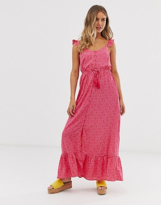 New Look frill strap maxi dress in pink ditsy floral