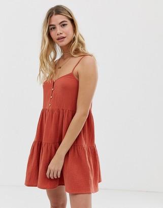 rhythm Camille cotton beach sundress in ginger-Orange